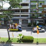 Krabi Vegetarian Festival Umzug Krabi Blick vom Balkon